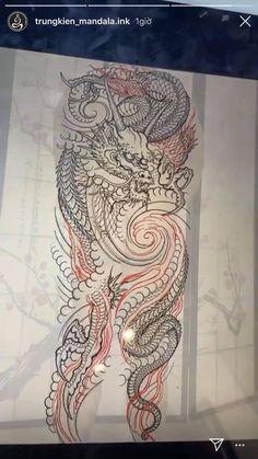 Tattoo Design Drawings, Tattoo Sleeve Designs, Tattoo Sketches, Japanese Tattoo Art, Japanese Sleeve Tattoos, Dragon Tattoo Full Sleeve, Dragon Tattoo Colour, Oriental, Asian Tattoos