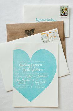 Aqua Wedding Details: Invitations with aqua-colored heart, photo by Q Weddings