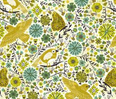 Mossy May Garden fabric by christinewitte on Spoonflower - custom fabric