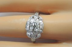 Antique Diamond Engagement Ring Platinum Ring Size 8.75 EGL USA Art Deco Vintage #Handmade #SolitairewithAccents