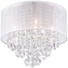 "Bretton Silver Shade 16"" Wide Crystal Ceiling Light"