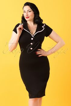 Hulahup ~ TopVintage Exclusive ~ 50s Nina Pencil Dress in Black and Pink  #AvaElderwood