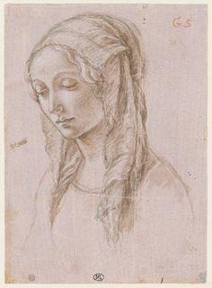 Inventaire du département des Arts graphiques - Tête de Vierge, de trois quarts à gauche, les paupières baissées - BOTTICINI Raffaello