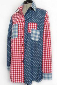 Men's Shirt Redo, Shirt Refashion, Sewing Clothes, Diy Clothes, Funky Shirts, Thrift Store Refashion, Silk Jacket, Cycling Outfit, Denim Fashion