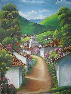 paisaje tipico Juan Viccente Sanches Martinez- Artelista. Más Landscape Drawing Tutorial, Long Painting, Haitian Art, English Country Cottages, Seaside Beach, Z Arts, Naive Art, Beautiful Paintings, Landscape Art