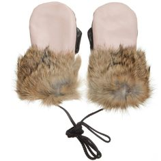 PETIT NORD Pink Leather & Fur Mittens