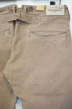 VINTAGE BEIGE BROWN STRIPED BUCKLEBACK TROUSERS