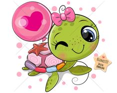 Cartoon water turtle girl with a balloon on a white background - Buy this stock vector and explore similar vectors at Adobe Stock Cute Turtle Drawings, Cute Turtle Cartoon, Baby Animal Drawings, Cartoon Drawings, Cute Cartoon, Cute Drawings, Cute Images, Cute Pictures, Cute Turtles