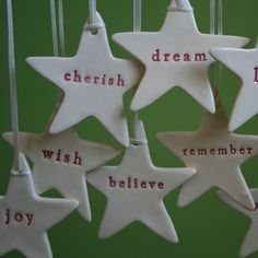 word stars - xmas decorations Lesson idea: write their goal for the new year
