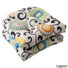 Add fresh patterns and a pop of color to you indoor or outdoor furniture with this set of two tufted seat cushions. These cushion have a durable sewn seam and are resistant to weather damage and fading.