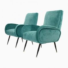 Italienische Blaue Mid-Century Sessel aus Samt, 1950er, 2er Set