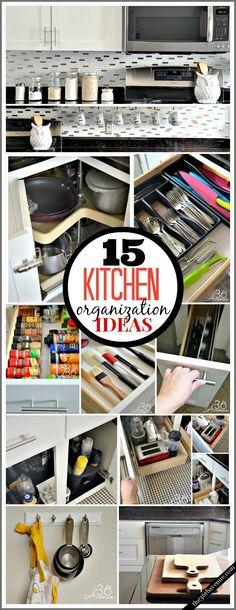15 Kitchen Organization Ideas //Organization hacks for the home Kitchen Hacks, Diy Kitchen, Kitchen Decor, Kitchen Tools, Kitchen Ideas, Messy Kitchen, Kitchen Organization, Organization Hacks, Kitchen Storage
