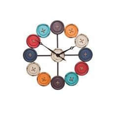 KARE Design An elegant clock with vintage flair. The design of buttons is sure to impress not only enthusiastic button collectors but the clock is also a real eye-catcher with its playful and stylish design. Ring Clock, Clock Art, London Clock, Wall Clock Online, How To Make Wall Clock, Cool Clocks, Metal Clock, George Nelson, Kare Design
