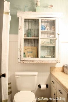 Southern Hospitality: Shabby Cabinet - Love this for above the toilet.