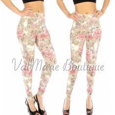 Floral Rose Camel Leggings GORGEOUS!!! Tag says these are M/L but they are not! They are a S/M for sizes 2-6. They are so comfortable and stunning and no they are not see through. Premium floral camel leggings for the Spring. Made of 80% cotton, 20% polyester. These are an absolute must have for the season. Price is firm. You may purchase this listing as I've created individual listings for each size. Length fits most heights. ValMarie Boutique Pants Leggings