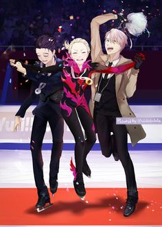 Yurio is too cute! In this photo and in the show you can start to see him slowly needing to rely on Victor and Yuri. ユーリ!!! On Ice, Ice Ice Baby, Yuri On Ice, Manga Art, Manga Anime, Anime Boys, Grand Prix, Aho Girl, Yurio X Otabek