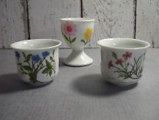 egg cup lot of 3 vintage - 2 Desiree Denmark floral porcelain - 1 no name daisy