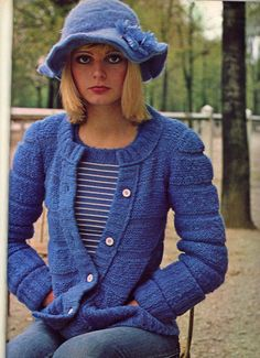 Mona Grant from an early 1970s Seventeen magazine blue jeans sweater hat vintage fashions style print ad model