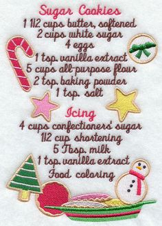 Machine Embroidery Designs at Embroidery Library! - Recipes-Need to try the recipe out then purchase the design if it is as good as a good sugar cookie should be. Christmas Sweets, Christmas Cooking, Noel Christmas, Christmas Goodies, Christmas Candy, Christmas Kitchen, Christmas Brownies, Country Christmas, Christmas Lasagna
