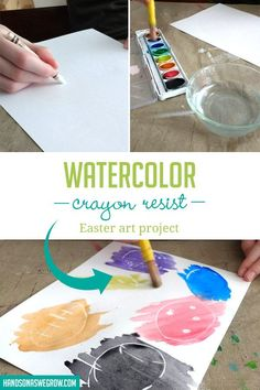 Love how simple this Easter crayon resist art activity is! Seriously: no prep! Art Activities For Toddlers, Preschool Arts And Crafts, Outdoor Activities For Kids, Preschool Activities, Easter Cross, Easter Art, Projects For Kids, Art Projects, Crafts For Kids