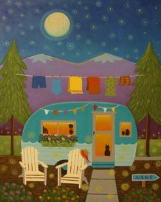 """Vintage Getaway"" painting by Mary Charles Vintage Trailer Glamping"