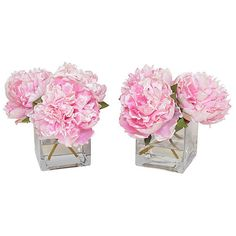 "9"" Pink Peony Arrangements - Faux Set of 2 Arrangements ($199) ❤ liked on Polyvore featuring home, home decor, floral decor, flowers, fillers, backgrounds, decorative accessories, floral home decor, handmade home decor and flower stems"