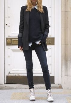 Shop this look on Lookastic: http://lookastic.com/women/looks/dress-shirt-crew-neck-sweater-blazer-skinny-jeans-high-top-sneakers/9134 — White Dress Shirt — Black Crew-neck Sweater — Black Blazer — Charcoal Skinny Jeans — Grey Canvas High Top Sneakers