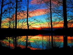 Sunset over the pond.