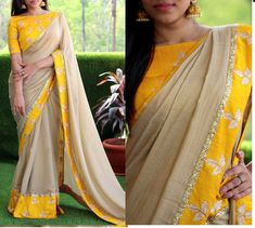 * Saree Fabrics : Georgette * Saree Color : Cream & Yellow * Saree Length : * Blouse Type : Un-Stitched * Blouse Fabrics : Banglory Silk * Blouse Color : Yellow * Blouse Length : 1 M * Work : Embroidered Saree * Look: Designer Saree * Yellow Saree, Yellow Blouse, Yellow Suit, Pakistani Fashion Casual, Casual Saree, Indian Fashion, Gota Patti Saree, Saree Jackets, Designer Sarees Online Shopping