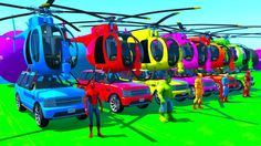 Color helicopter on cars spiderman cartoon with superheroes for kids