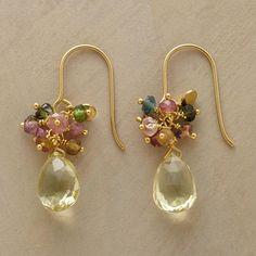 SUNSHINE EARRINGS�--�Vibrant tourmaline beads dance above delicious drops of lemon quartz. 14kt gold vermeil French earwires. Approx. 1-1/4L.
