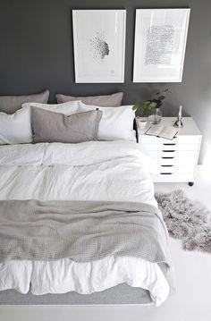 White and grey Scandinavian bedroom