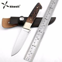 KKWOLF fixed blade hunting knife Leather sheath camping survival Tactical knife outdoor rescue pocket knives EDC Free shipping