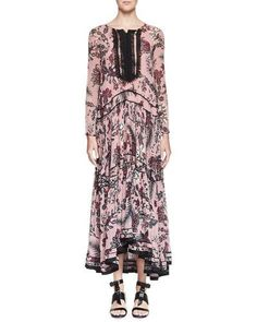 CHLOÉ CACTUS-PRINT SILK MAXI DRESS, PINK/BURGUNDY. #chloé #cloth #