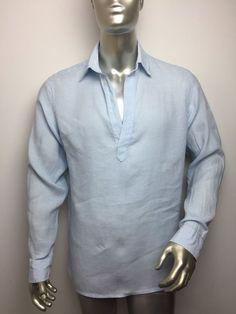 dda91e1e4c31 Banana Republic Linen Popover Pointed Collar Blue Shirt Men s Medium 15-15  1 2