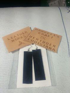 Earring, genuine leather, rectangle, black