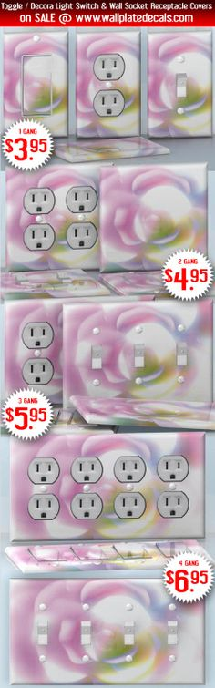 DIY Do It Yourself Home Decor - Easy to apply wall plate wraps | Pinky Shine  Pastel color rose  wallplate skin stickers for single, double, triple and quadruple Toggle and Decora Light Switches, Wall Socket Duplex Receptacles, and blank decals without inside cuts for special outlets | On SALE now only $3.95 - $6.95