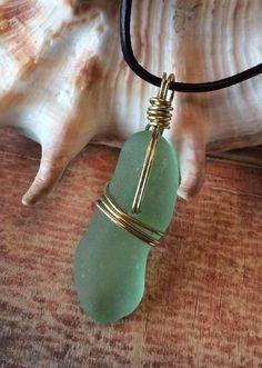 "Genuine Sea Glass Jewelry Necklace. 22.5"" Leather Bright Mint Green Brass Gold  | eBay"