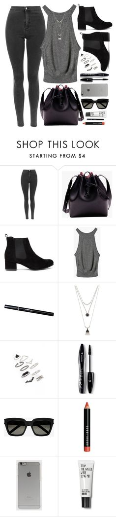 """Black/Gray"" by genuine-people ❤ liked on Polyvore featuring Forever 21, Topshop, Lancôme, Yves Saint Laurent, Bobbi Brown Cosmetics, Incase, black and gray"