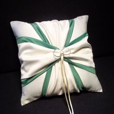Use coupon code PINITFREESHIP for FREE shipping!  Green  Accent White or Ivory Wedding Ring Bearer Pillow by Jessicasdaydream