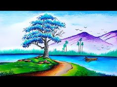 Oilpastel Drawing / Easy Oilpastel drawing with oil pastel / Scenery Drawing with Oil Pastel - YouTube Colorful Drawings, Easy Drawings, Easy Scenery Drawing, Oil Pastel Colours, Drawing For Kids, Abstract Landscape, Colored Pencils, Crafts For Kids, Youtube
