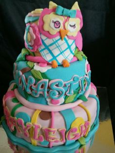 Made by LaKeisha Keck with Sweet Tooth Mother and Daughter cakes. Owls cake for little girls.
