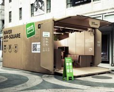 Cardboard Box Pop-Up Shops - Naver App Square is a Cool Temporary Store by Urbantainer (GALLERY)