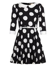 This Black & White Polka Dot A-Line Dress by Iska London is perfect! #zulilyfinds