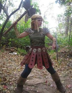 Medieval blonde with axe