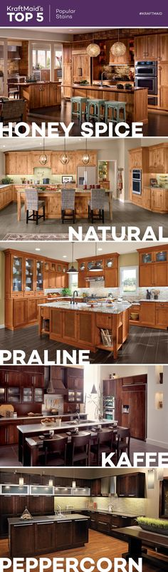 For an alternative to painted kitchen cabinets, these are five of KraftMaid's most popular stain finishes: Honey Spice (pictured in cherry cabinets), Natural (pictured in rustic alder cabinets), Praline (pictured in cherry cabinets), Kaffe (pictured in cherry cabinets) and Peppercorn (pictured in maple cabinets).