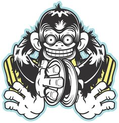 Mad Cymbal Monkey wants to play for you! Illustration design for a logo to be printed on t-shirts.