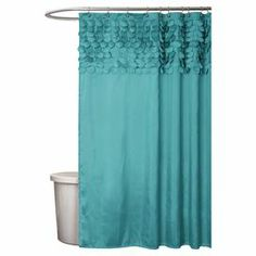 """Shower curtain with hand-stitched laser cut circle details.  Product: Shower curtainConstruction Material: PolyesterColor: TurquoiseFeatures: Hand-stitchedDimensions: 72"""" H x 72"""" WNote: Shower hooks not includedCleaning and Care: Machine wash and light iron if needed"""