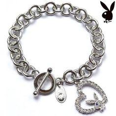 Playboy Bracelet Bunny Open Heart Charm Swarovski Crystals Toggle Clasp RARE HTF #Playboy #Traditional