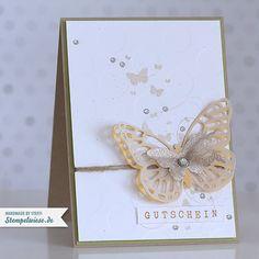 Stampin' Up! - Schmetterlinge - FSM170 - Safrangelb - Farngrün - Gutschein - Silber ❤ Stempelwiese
